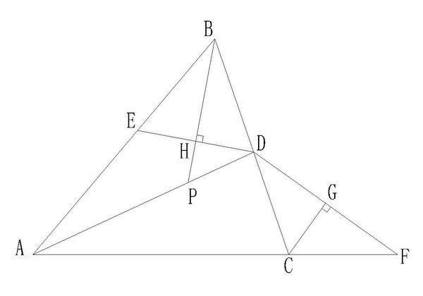 如图,在三角形abc中,ad平分角bac,df垂直角acb外角的平分线于g,de垂直
