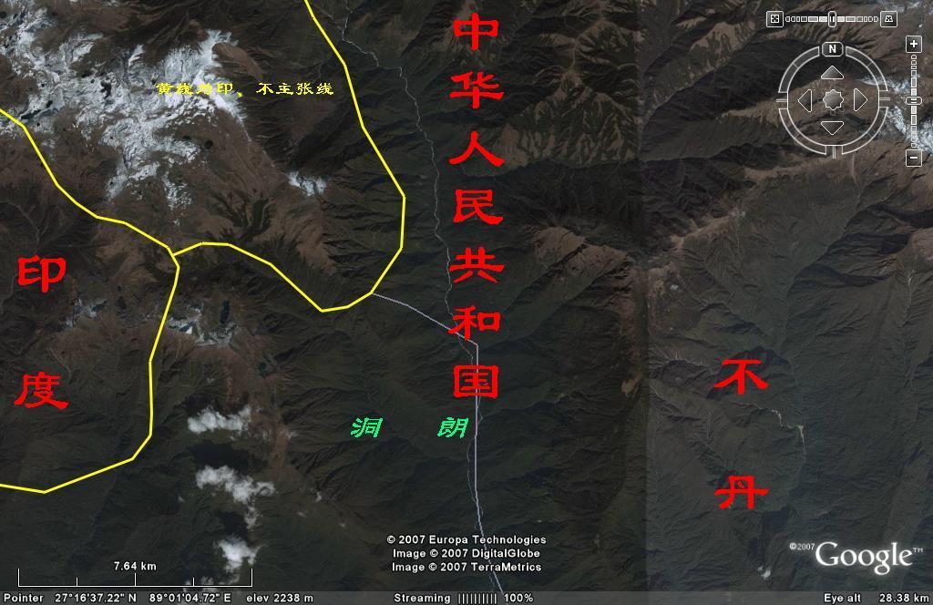 中国亚东洞朗地区地图
