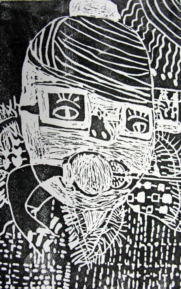 麻胶版画与木刻版画在刻印上是一样的