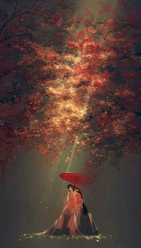 唯美有彼岸花的古风女子背影有花瓣图片