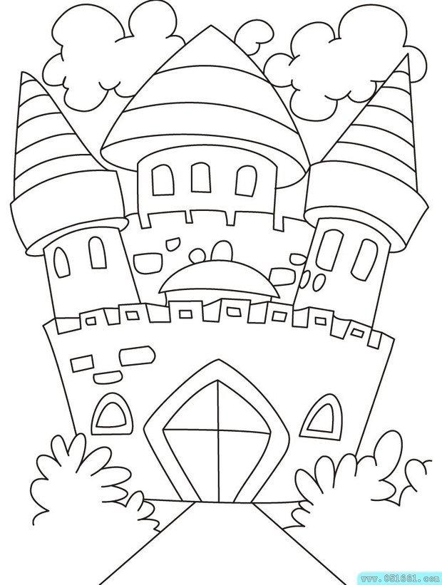 城堡手绘线条稿