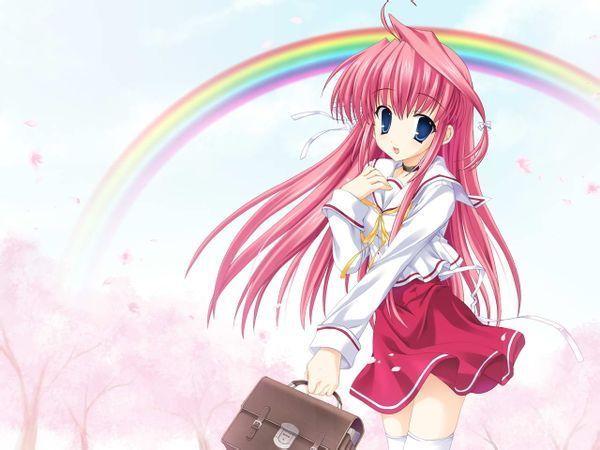 粉色长发的动漫女生图片