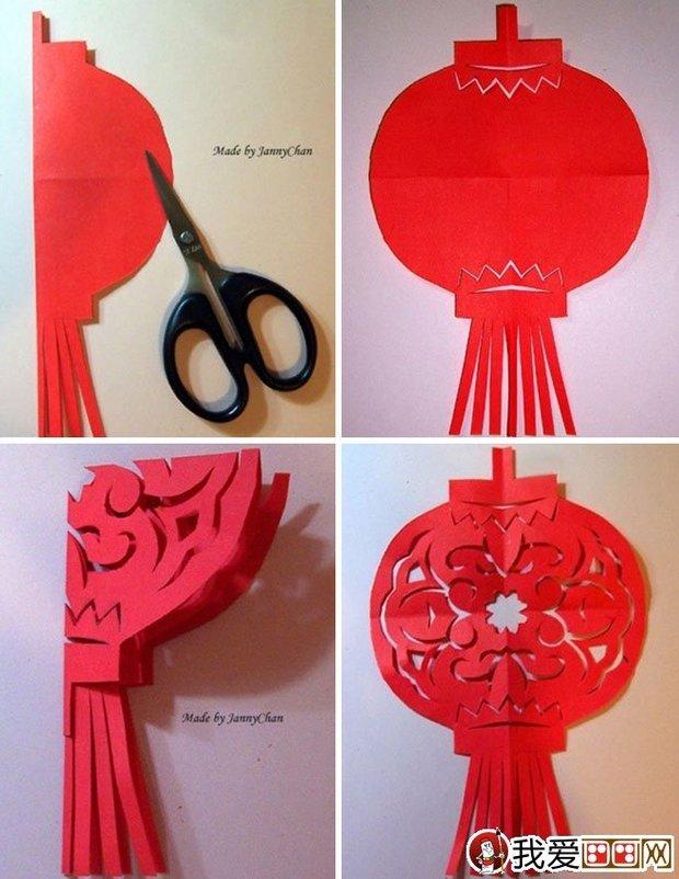 >>剪纸灯笼制作方法  灯笼剪纸步骤二,接着把灯笼中间的半圆形上下