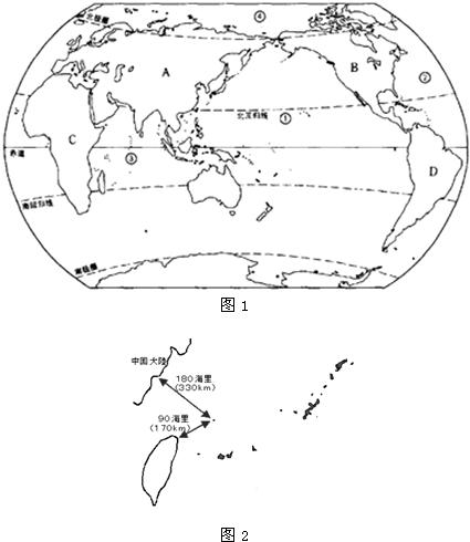 (1)大洲名称:A______;B______;C______;D______. (2)大洋名称:______;______;______;______. (3)在东半球的各大洲中,全部位于北半球的大洲:______. (4)最近,我国与______(国家)围绕某岛屿产生领土争端,该岛自古以来是我国领土,如图2所示.请在图中填上该岛屿名称及离她90海里的我国第一大岛名称.